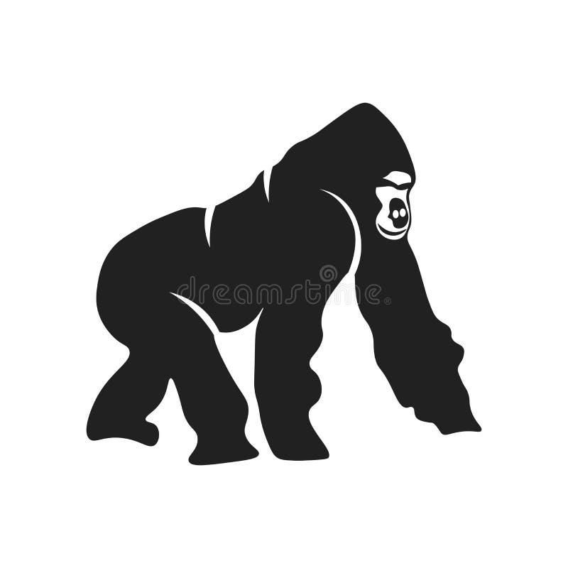 Signe et symbole de vecteur d'icône de gorille d'isolement sur le fond blanc, concept de logo de gorille illustration libre de droits