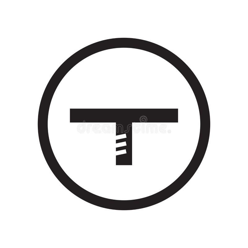 Signe et symbole de vecteur d'icône d'intersection de route de T d'isolement sur le fond blanc, concept de logo d'intersection de illustration stock
