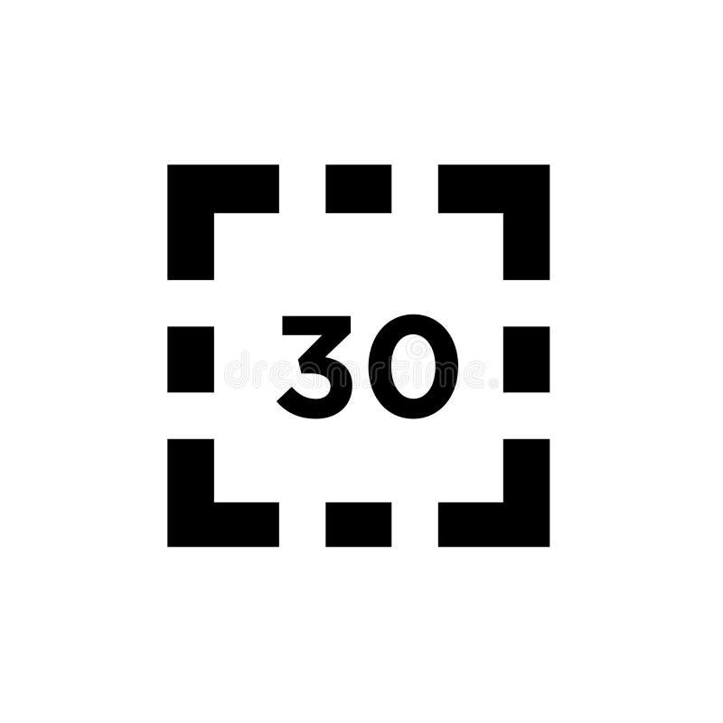 Signe et symbole de vecteur d'icône de l'affichage numérique 30 d'isolement sur le fond blanc, concept de logo de l'affichage num illustration de vecteur