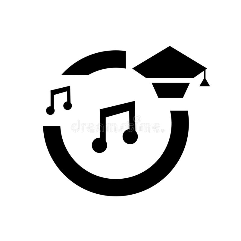 Signe et symbole de vecteur d'icône de la musique de l'obtention du diplôme d'isolement sur le fond blanc, concept de logo de la  illustration de vecteur