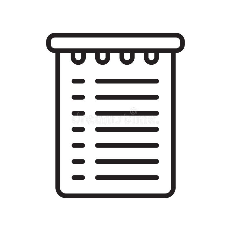 Signe et symbole de vecteur d'icône de liste d'achats d'isolement sur le dos blanc illustration libre de droits