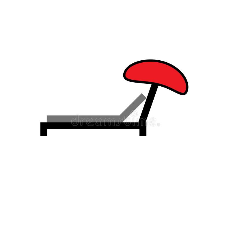 Signe et symbole de vecteur d'icône de lit pliant d'isolement sur le fond blanc, concept de logo de lit pliant illustration stock