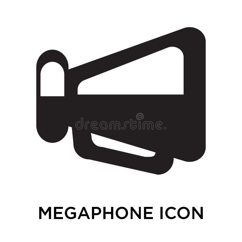 Signe et symbole de vecteur d'icône de mégaphone d'isolement sur le backgrou blanc illustration de vecteur