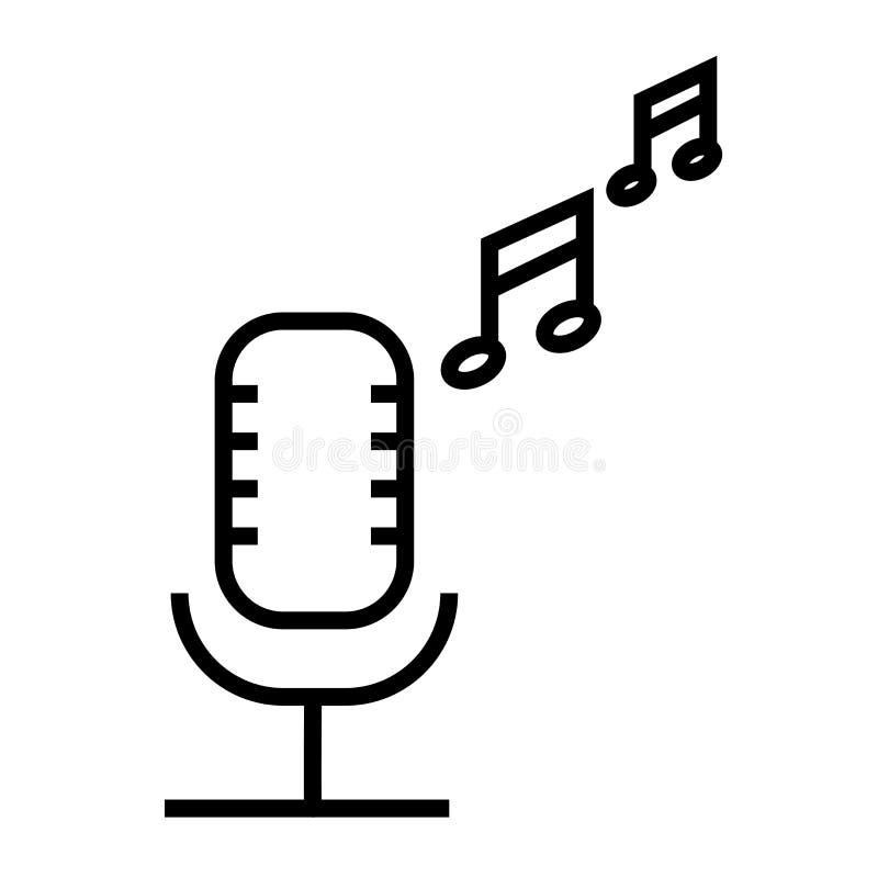 Signe et symbole de vecteur d'icône de microphone d'émission d'isolement sur le fond blanc, concept de logo de microphone d'émiss illustration de vecteur