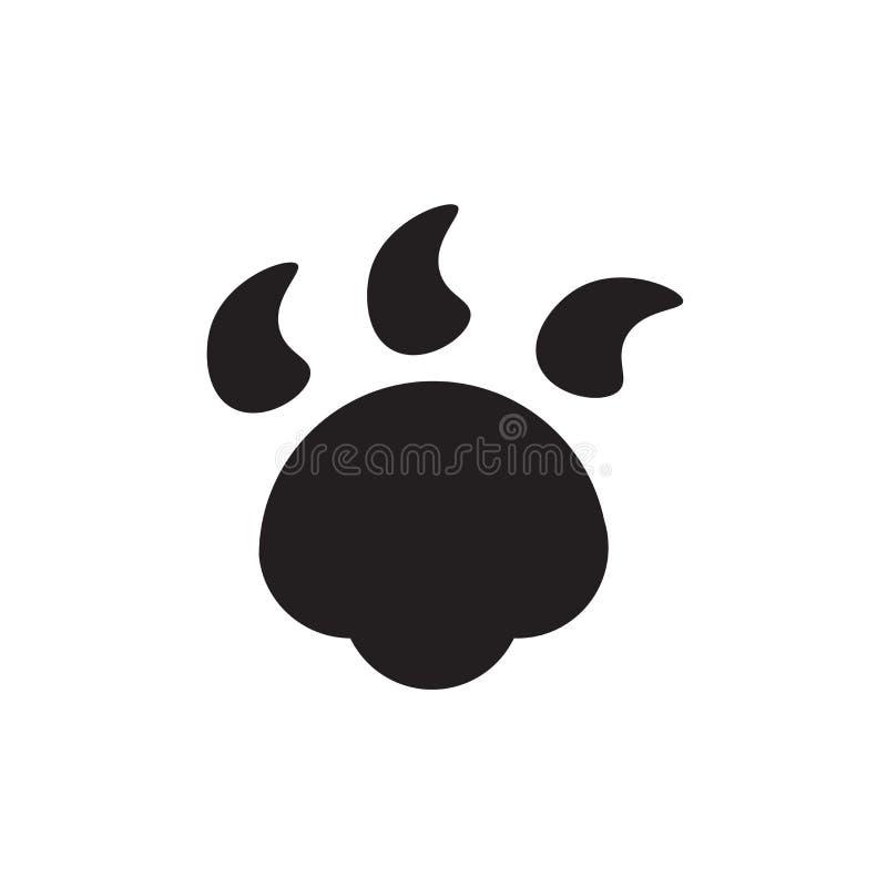 Signe et symbole de vecteur d'icône de Pawprint de chien d'isolement sur le fond blanc, concept de logo de Pawprint de chien illustration de vecteur