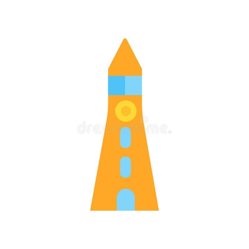 Signe et symbole de vecteur d'icône de phare d'isolement sur le fond blanc, concept de logo de phare illustration stock