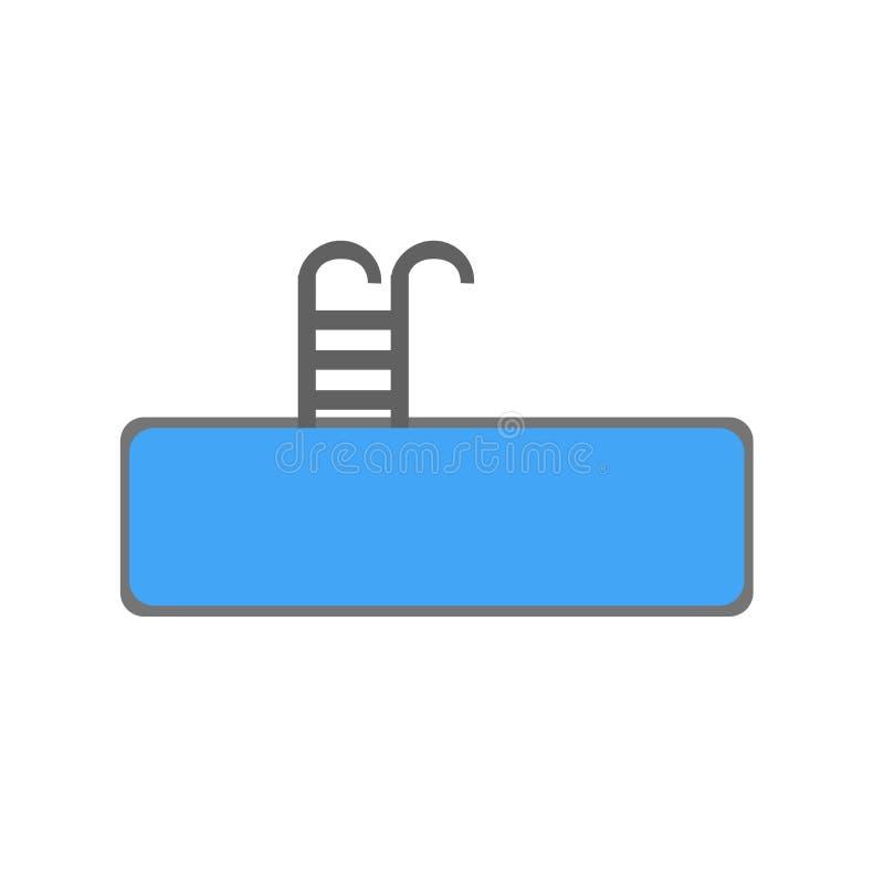 Signe et symbole de vecteur d'icône de piscine d'isolement sur le fond blanc, concept de logo de piscine illustration de vecteur