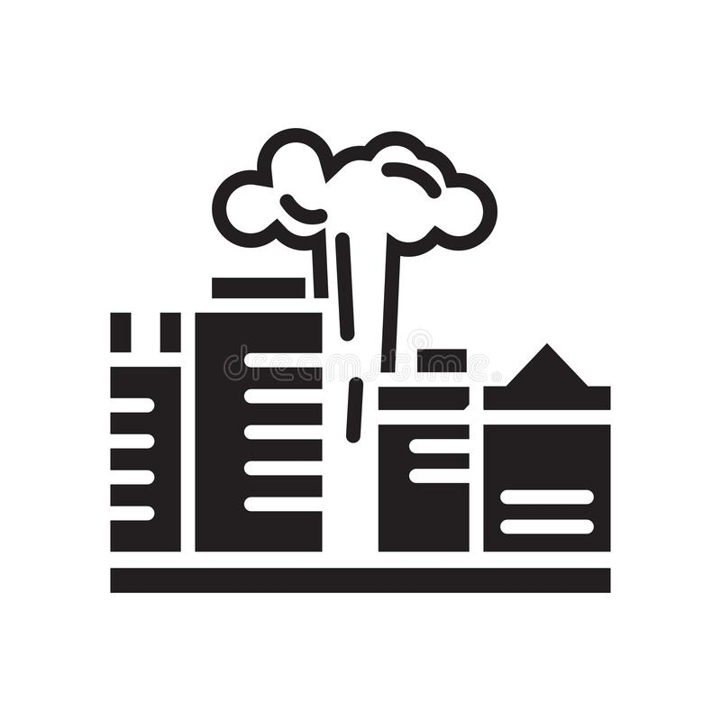 Signe et symbole de vecteur d'icône de pollution d'isolement sur le backgrou blanc illustration stock
