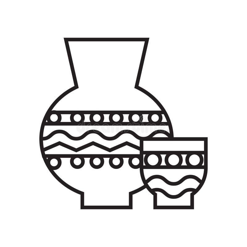 Signe et symbole de vecteur d'icône de poterie d'isolement sur le fond blanc illustration de vecteur