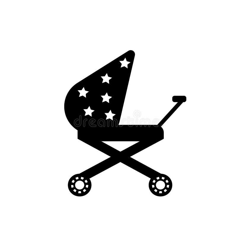 Signe et symbole de vecteur d'icône de poussette d'isolement sur le fond blanc, concept de logo de poussette illustration stock