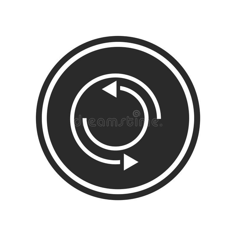 Signe et symbole de vecteur d'icône de répétition d'isolement sur le fond blanc, concept de logo de répétition illustration stock