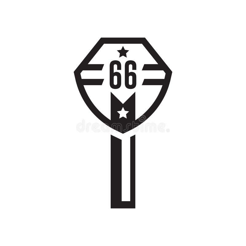 Signe et symbole de vecteur d'icône de Route 66 d'isolement sur le backgroun blanc illustration libre de droits