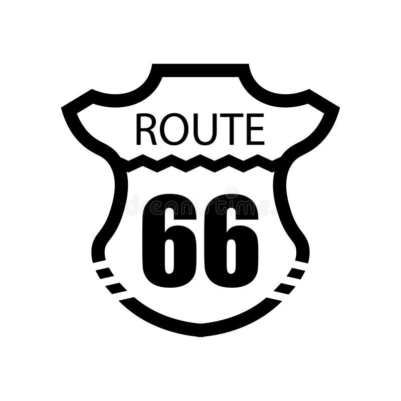 Signe et symbole de vecteur d'icône de Route 66 d'isolement sur le fond blanc, concept de logo de Route 66 illustration de vecteur