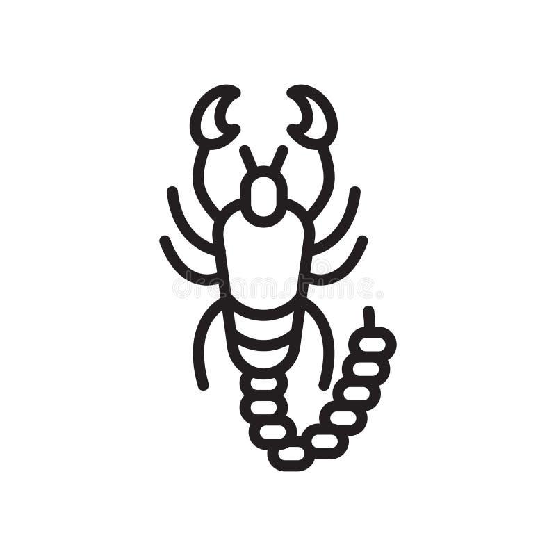 Signe et symbole de vecteur d'icône de scorpion d'isolement sur le backgroun blanc illustration stock