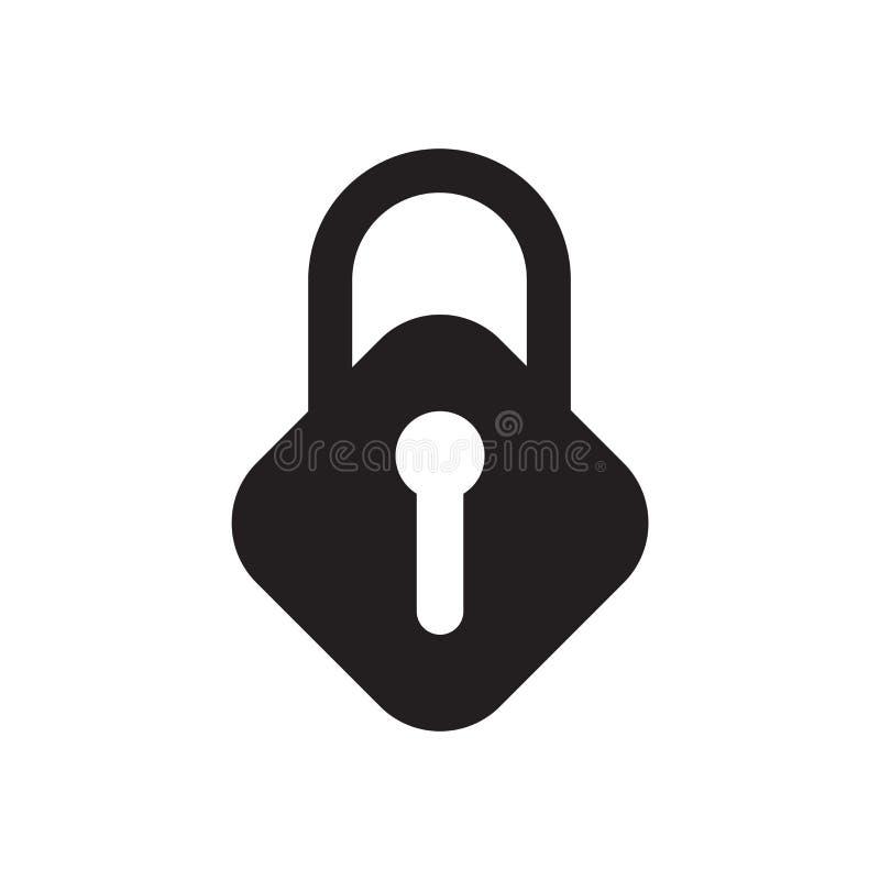 Signe et symbole de vecteur d'icône de serrure d'isolement sur le fond blanc, concept de logo de serrure illustration stock