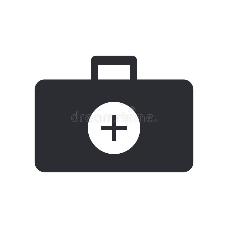 Signe et symbole de vecteur d'icône de serviette de docteur d'isolement sur le fond blanc, concept de logo de serviette de docteu illustration stock
