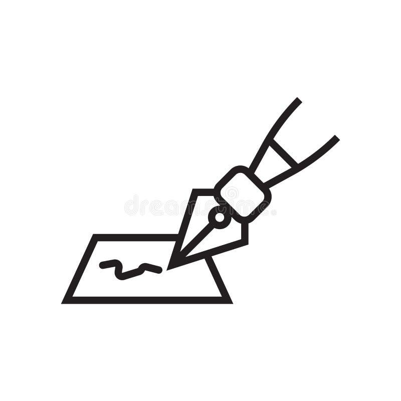 signe et symbole de vecteur d'icône de signature d'isolement sur le fond blanc, concept de logo de signature illustration stock