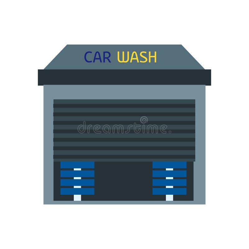 Signe et symbole de vecteur d'icône de station de lavage d'isolement sur le fond blanc, concept de logo de station de lavage illustration de vecteur