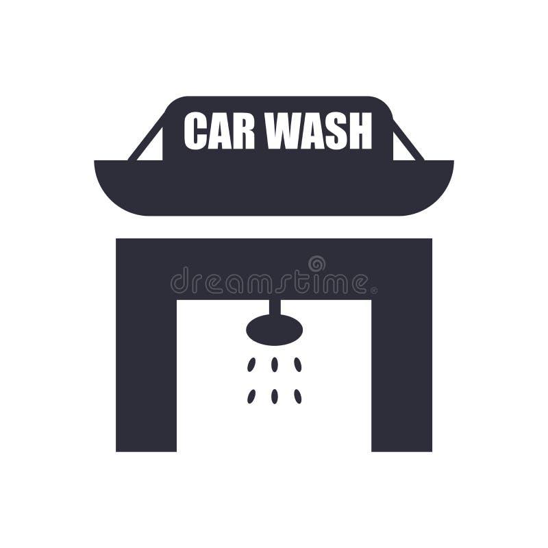 Signe et symbole de vecteur d'icône de station de lavage d'isolement sur le fond blanc, concept de logo de station de lavage illustration libre de droits
