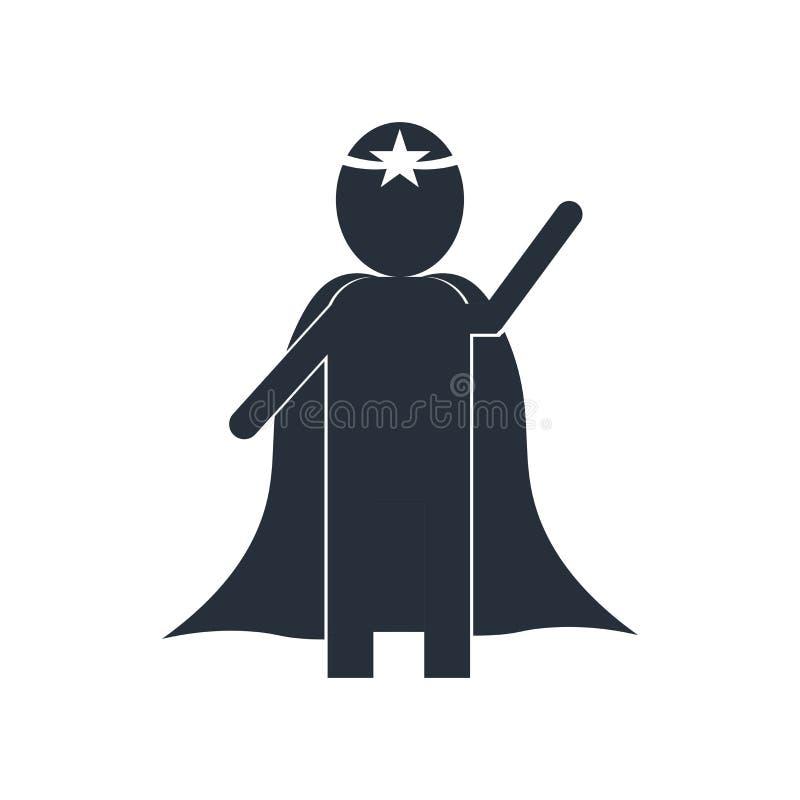 Signe et symbole de vecteur d'icône de superhéros d'isolement sur le fond blanc, concept de logo de superhéros illustration de vecteur