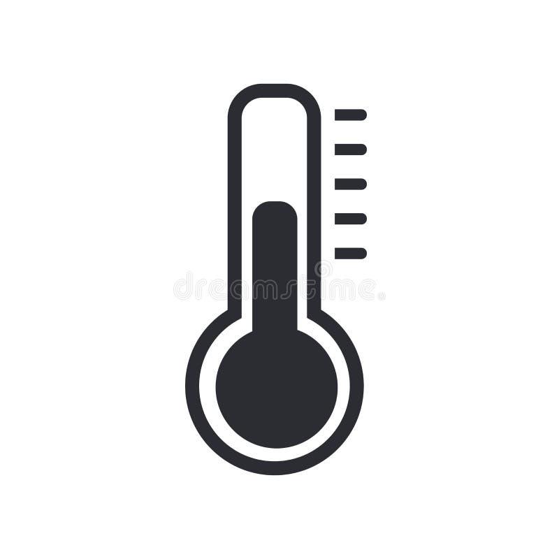 Signe et symbole de vecteur d'icône de thermomètre d'isolement sur le fond blanc, concept de logo de thermomètre illustration stock