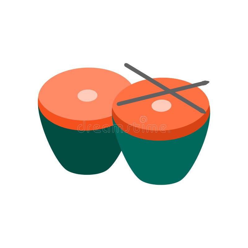 Signe et symbole de vecteur d'icône de timbales d'isolement sur le fond blanc illustration stock