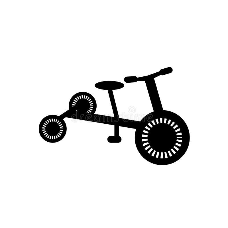 Signe et symbole de vecteur d'icône de tricycle d'isolement sur le fond blanc, concept de logo de tricycle illustration libre de droits
