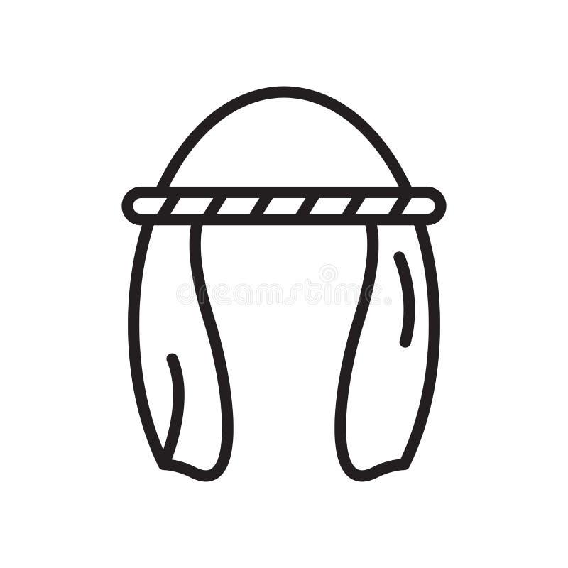 Signe et symbole de vecteur d'icône de turban d'isolement sur le fond blanc illustration libre de droits