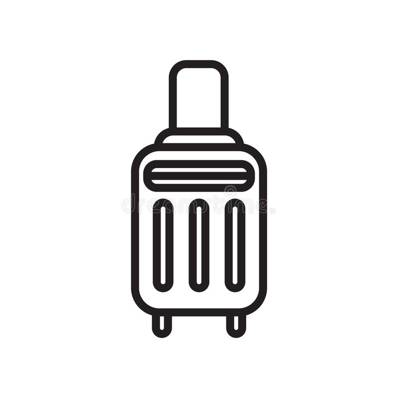 Signe et symbole de vecteur d'icône de valise d'isolement sur le fond blanc, concept de logo de valise illustration libre de droits