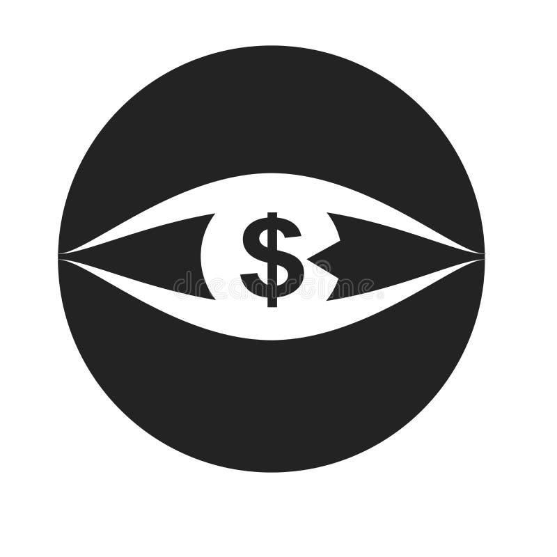 Signe et symbole de vecteur d'icône de vision d'isolement sur le fond blanc, concept de logo de vision illustration de vecteur