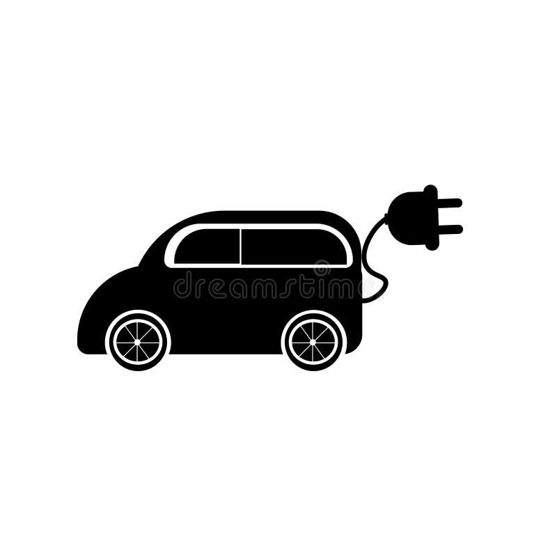 Signe et symbole de vecteur d'icône de voiture électrique d'isolement sur le fond blanc, concept de logo de voiture électrique illustration stock