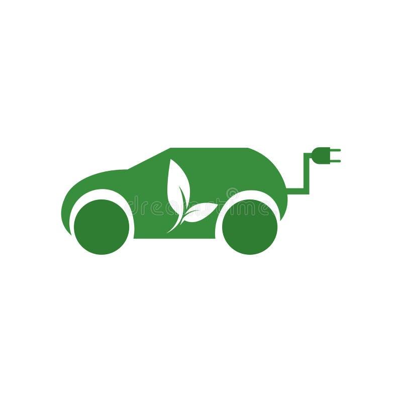 Signe et symbole de vecteur d'icône de voiture hybride d'isolement sur le fond blanc, concept de logo de voiture hybride illustration de vecteur