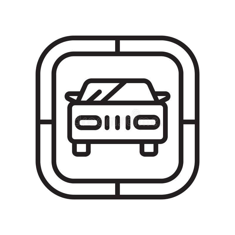 Signe et symbole de vecteur d'icône de voiture d'isolement sur le fond blanc, concept de logo de voiture illustration de vecteur