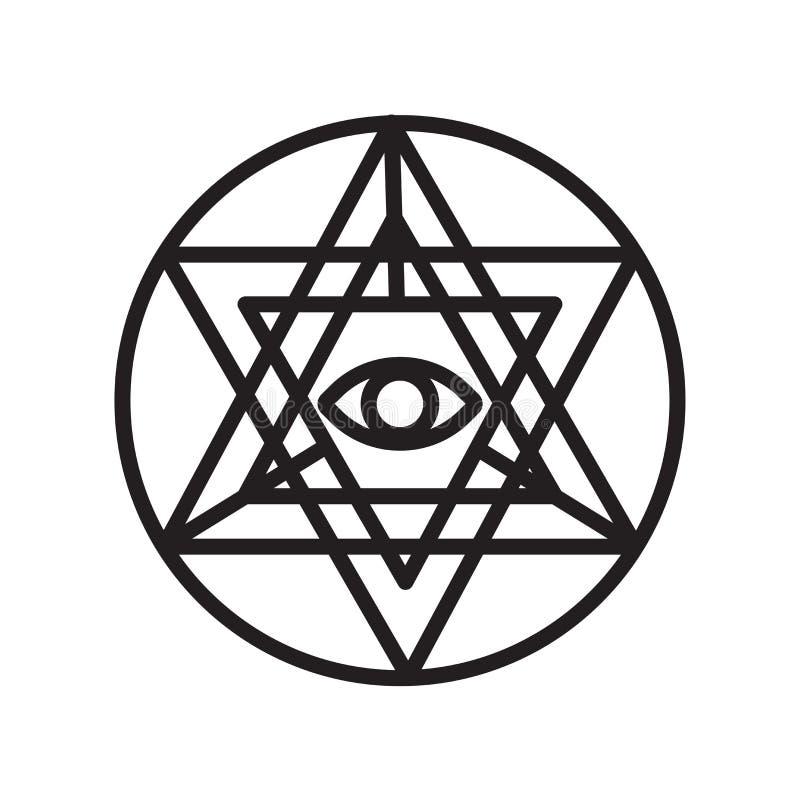 Signe et symbole de vecteur d'icône de yantra de Sri d'isolement sur le backgro blanc illustration libre de droits