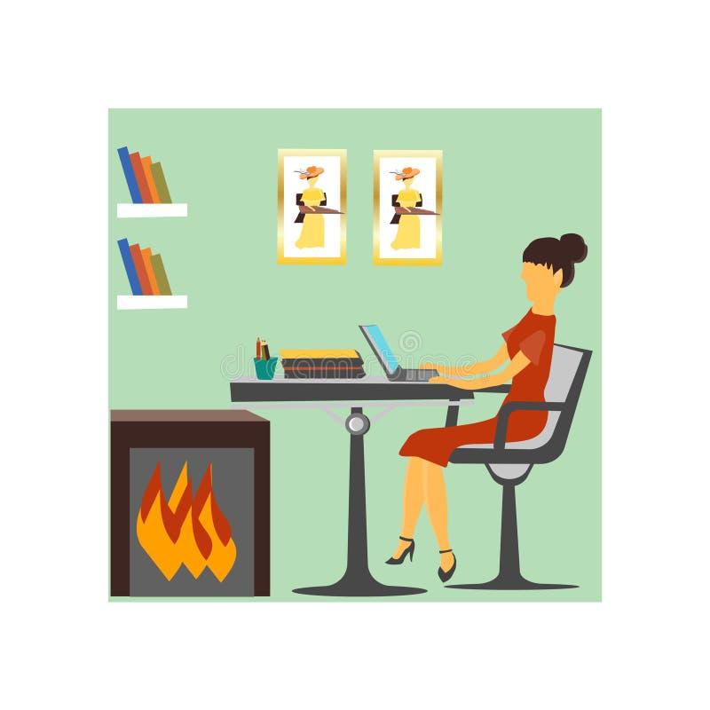 Signe et symbole travaillants de vecteur de vecteur de femme moderne d'isolement sur le fond blanc, concept travaillant de logo d illustration libre de droits