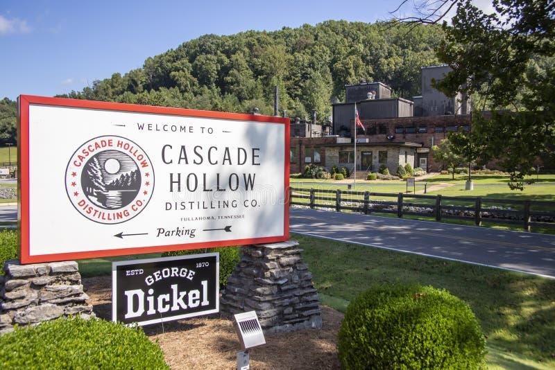 Signe et usine de la compagnie de distillerie George Dickel Cascade Hollow photographie stock libre de droits