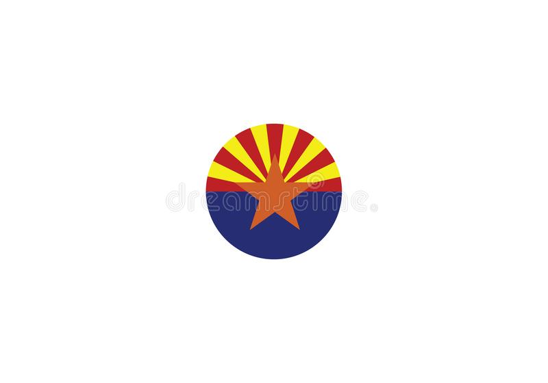 Signe Etats-Unis d'état de symbole national de drapeau de l'Arizona illustration libre de droits