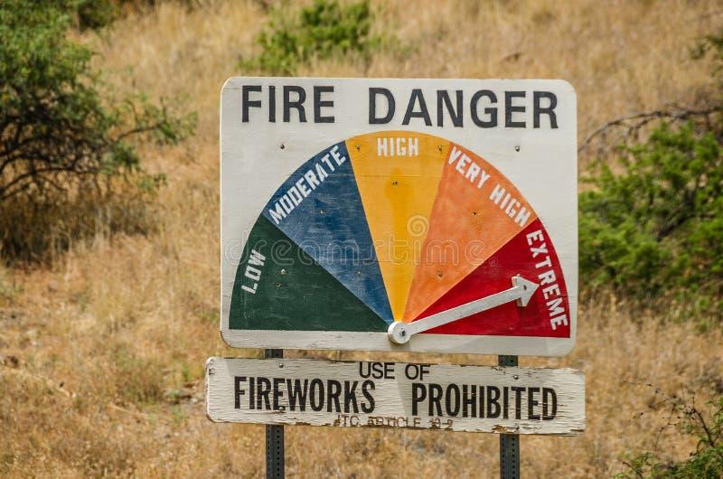 Signe extrême de danger du feu - aucun feux d'artifice photos stock