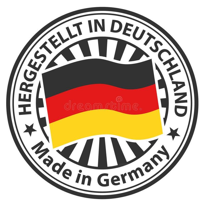 Signe fabriqué en Allemagne Hergestellt au Deutschland illustration de vecteur