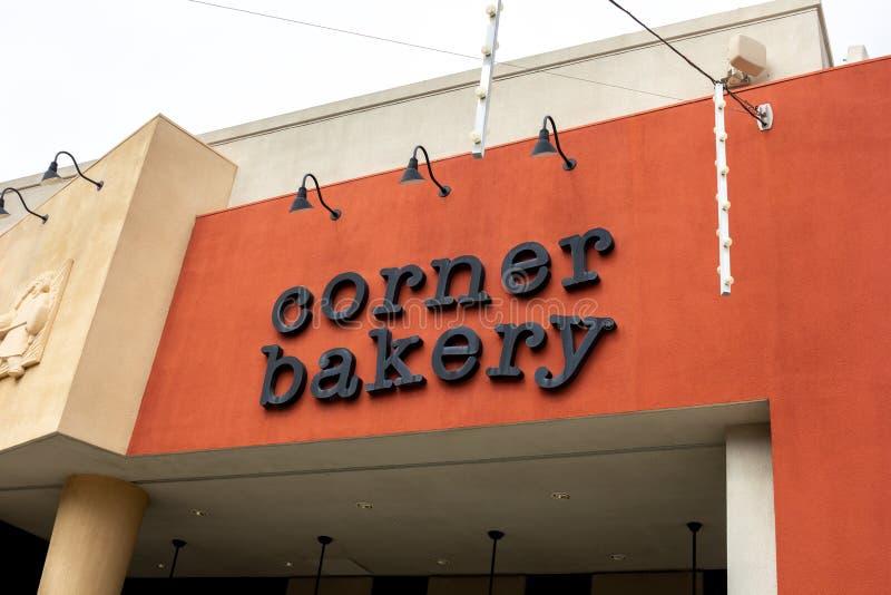 Signe faisant le coin de restaurant de boulangerie photos libres de droits