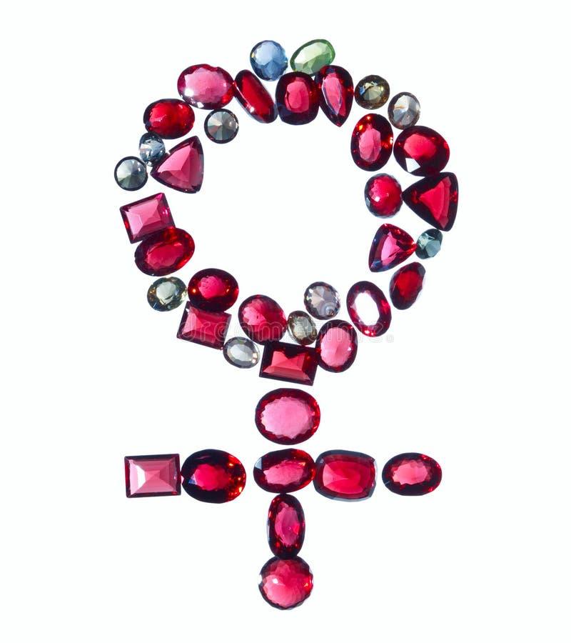 Signe femelle de genre des bijoux colorés.