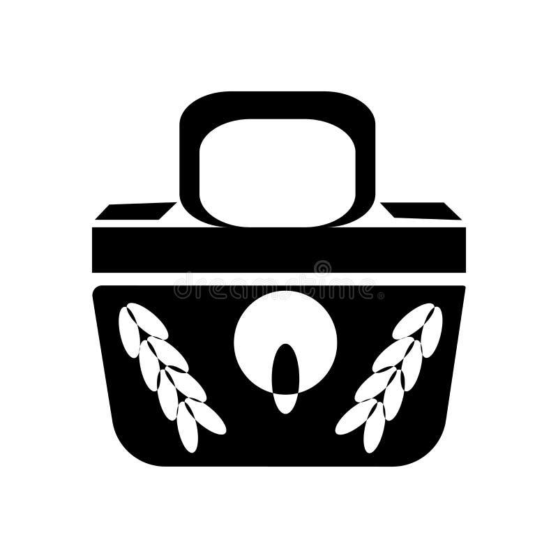 Signe femelle et symbole noirs de vecteur d'icône de sac à main d'isolement sur le fond blanc, concept noir femelle de logo de sa illustration libre de droits