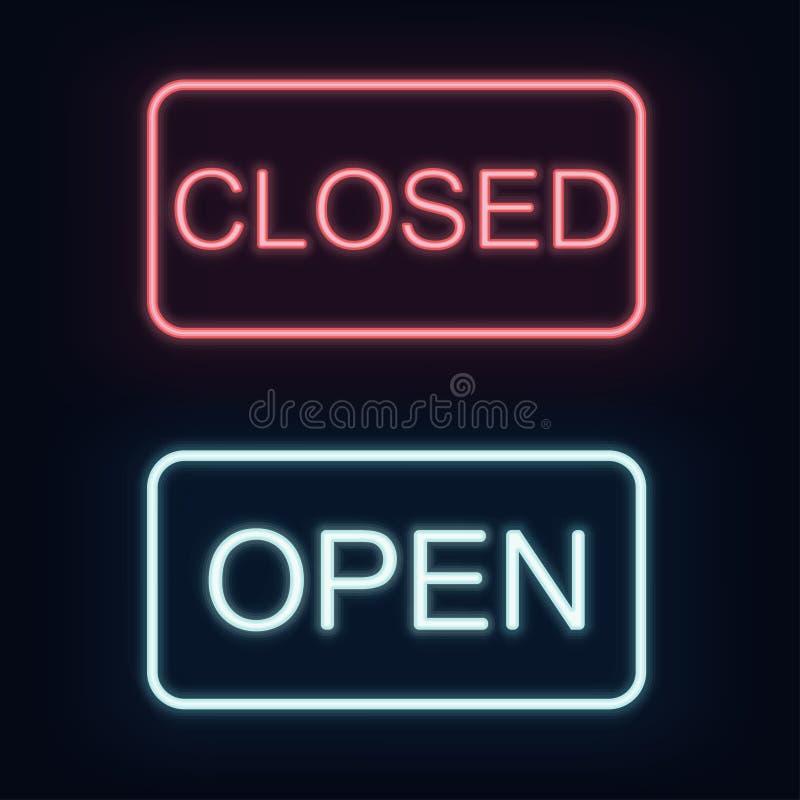 Signe fermé et ouvert au néon rougeoyant avec les étincelles magiques sur le fond foncé illustration stock