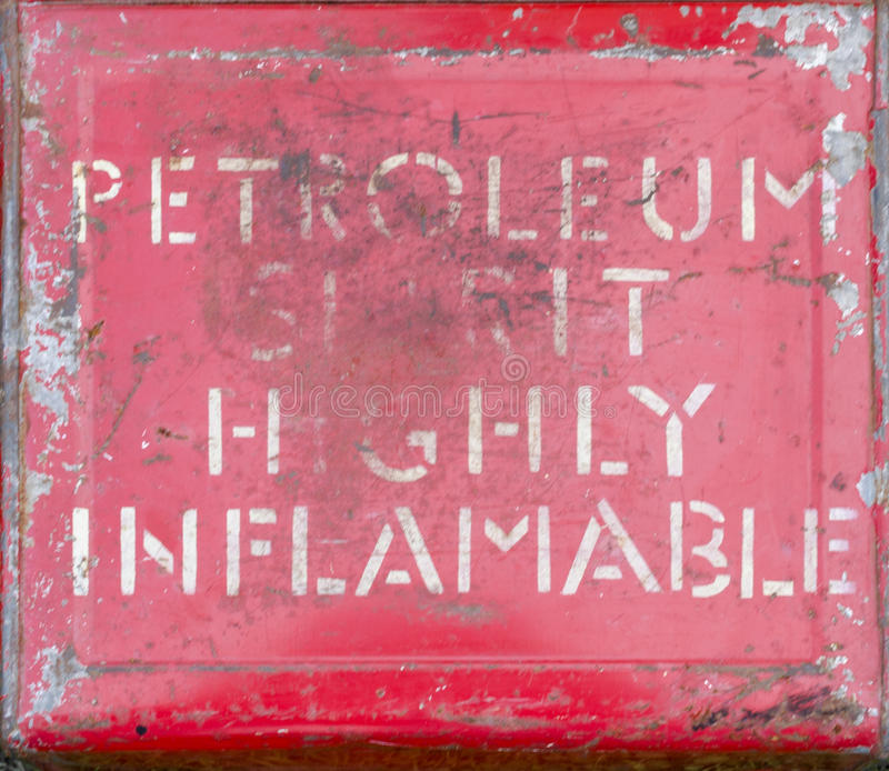 Signe fortement inflammable de white spirit image stock