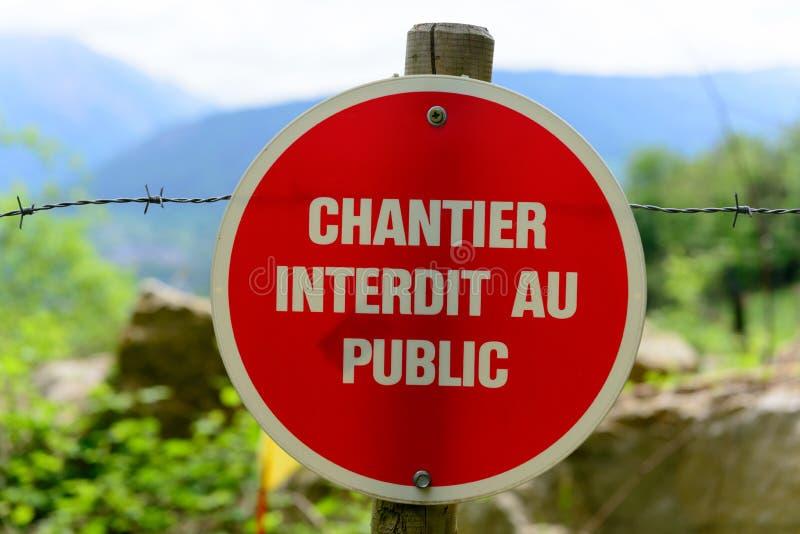 Signe français indiquant un chantier de construction image stock