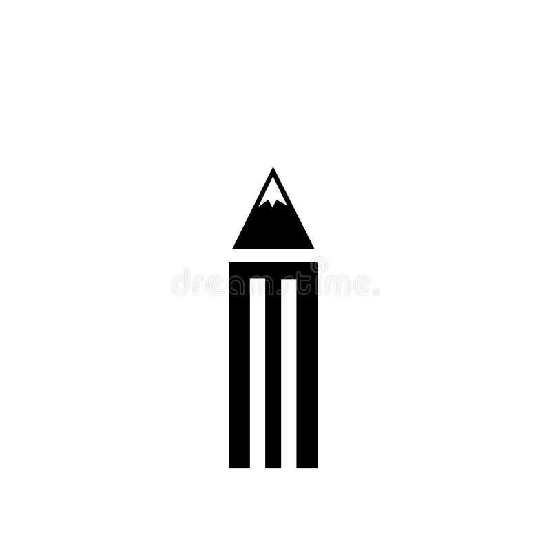 Signe géométrique et symbole de vecteur d'icône de crayon d'isolement sur le fond blanc, concept géométrique de logo de crayon illustration de vecteur
