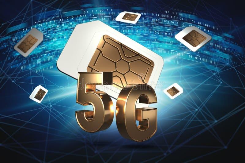 Signe 5G d'or avec des cartes de sim planant derrière lui Les données numériques, les noeuds de réseau et le code binaire tournen illustration de vecteur