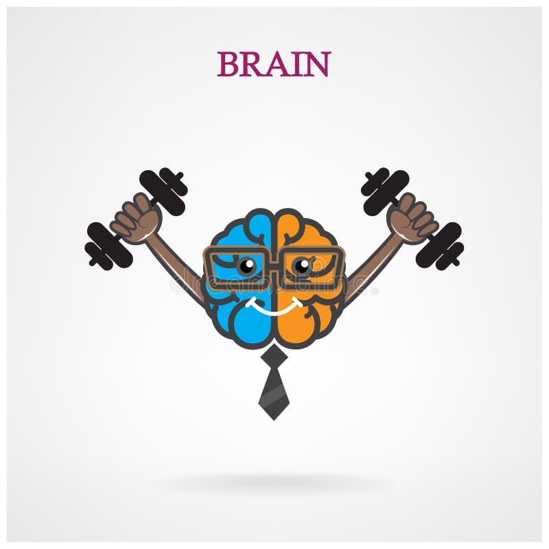 Signe gauche et droit créatif de cerveau avec le barbell sur le backgroun illustration stock