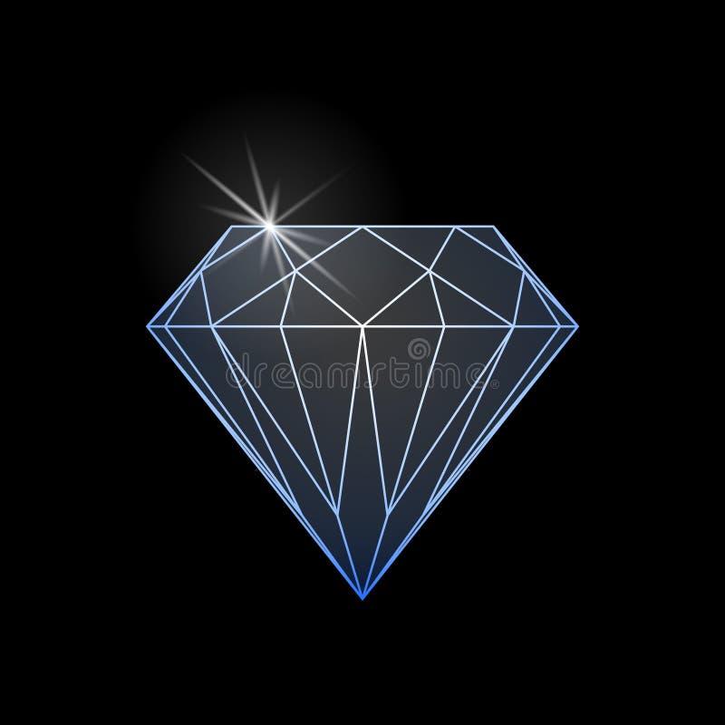 Signe graphique d'éclat de diamant d'isolement sur le fond noir illustration stock