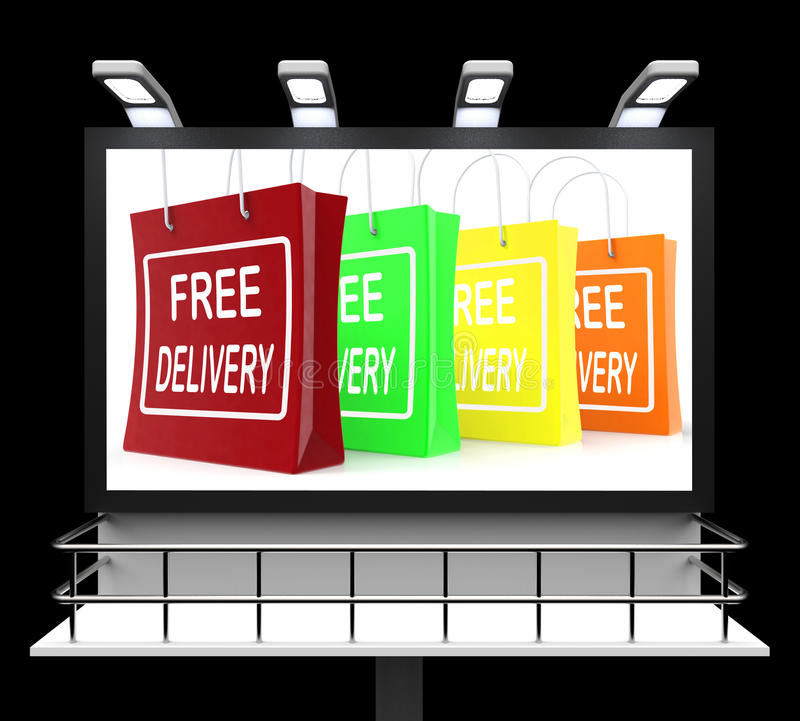 Signe gratuit d'achats de la livraison ne montrant aucune charge ou gratuitement à Deliv illustration de vecteur